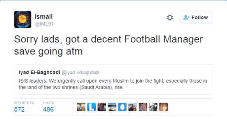 To ΙSIS καλεί τους μουσουλμάνους στα όπλα και ένας θεός απαντά πως έχει να παίξει Manager (PHOTO)