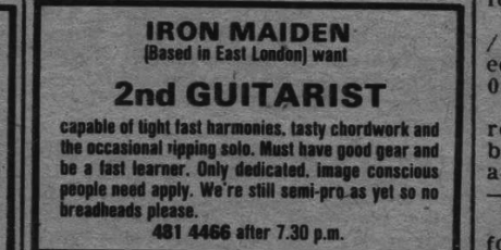 Όταν οι άγνωστοι Iron Maiden ψάχνανε κιθαρίστα με αγγελία (PHOTO)