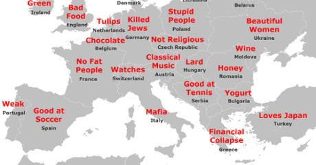 Χάρτης δείχνει τι πιστεύουν για τους λαούς του πλανήτη Ευρώπη οι Ιάπωνες