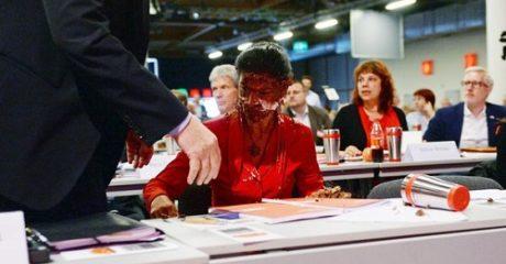 Τούρτα από αναρχικούς ακτιβιστές έφαγε η επικεφαλής του Γερμανικού Die Linke (PHOTO+VIDEO)