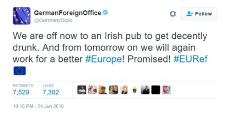 Μεθύσι σε Ιρλανδική pub αναζητούσαν στο Γερμανικό Υπουργείο Εξωτερικών μετά το χθεσινό Brexit