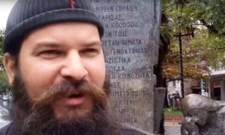 Mνημείο για το Ολοκαύτωμα των Εβραίων βεβήλωσε ο Πάτερ Κλεομένης στη Λάρισα