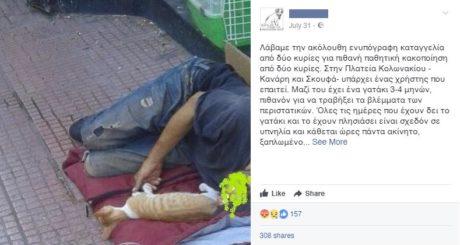 Το γατάκι από έναν άστεγο θέλουν να πάρουν κάποιοι φιλόζωοι στο Κολωνάκι